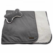 Fou Fou Dog puppy Blanket Charcoal gre1y